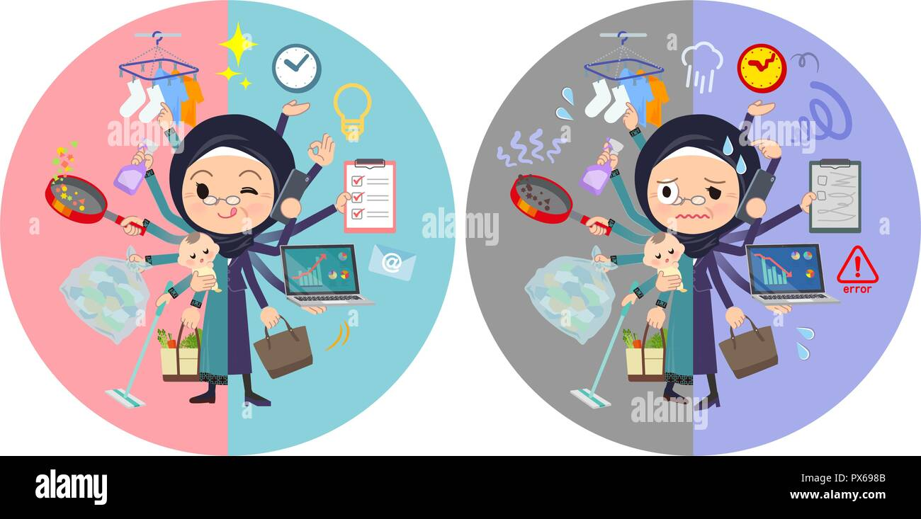 A set of old women wearing hijab who perform multitasking in offices and private.There are things to do smoothly and a pattern that is in a panic.It's - Stock Image
