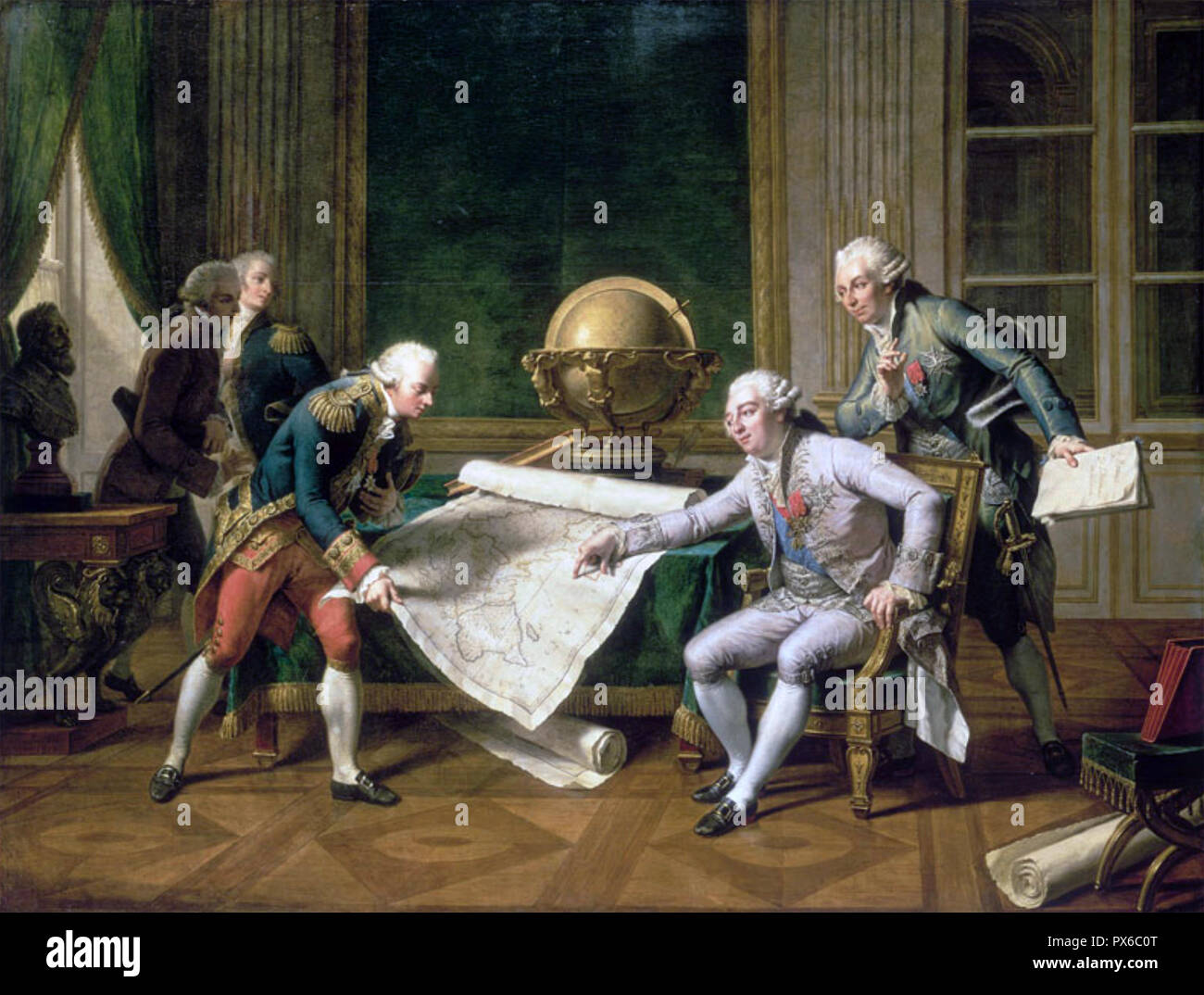 JEAN-FRANÇOIS de GALAUP, comte de Lapérouse (1741-1788 ?) French naval officer and explorer. An 1817 painting by Nicholas-Andre Monsiau showing Galaup receiving his orders from Louis XVI - Stock Image