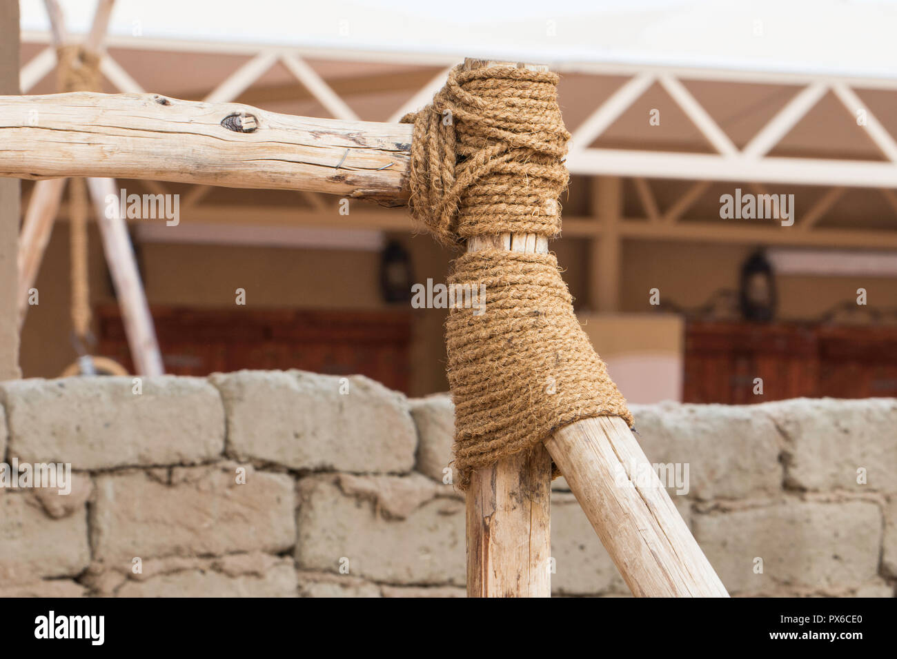 Connect the timber with a rope Stock Photo
