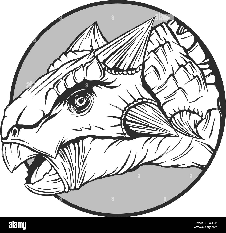 sketch of a cartoon dinosaur in vector illustartion - Stock Image