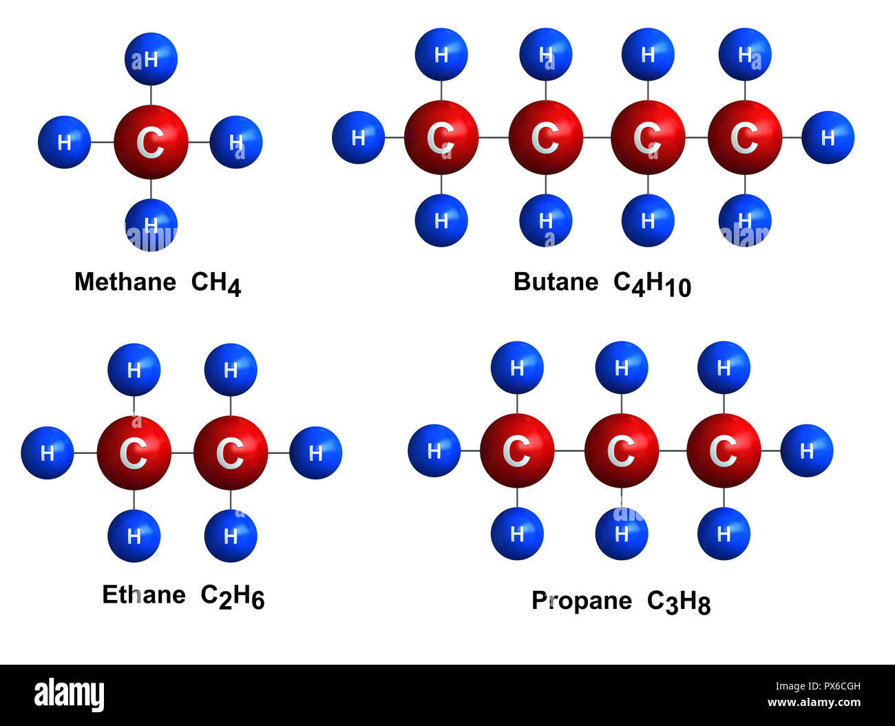 3d render of molecular structure of methane, butane, ethane and propane isolated over white background Atoms are represented as spheres with color and - Stock Image