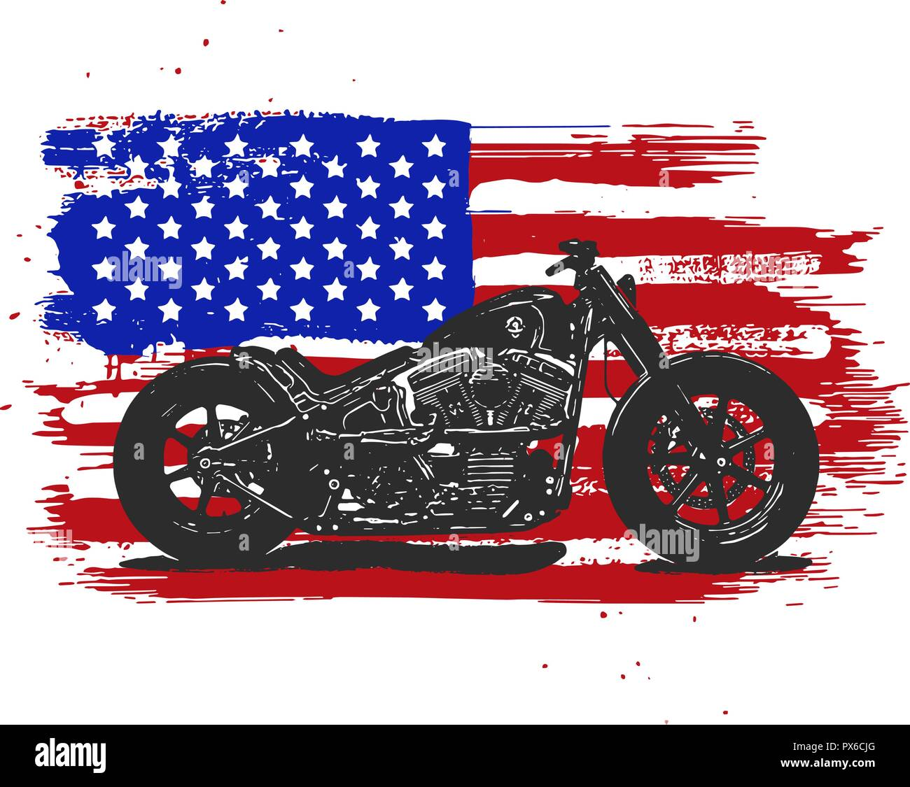 Hand drawn and inked vintage American chopper motorcycle with american flag - Stock Image