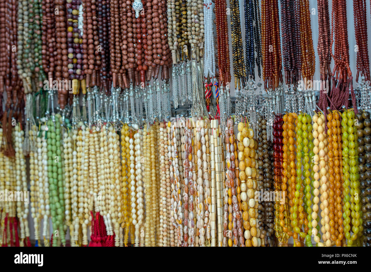 Islamic rosary with different materials, colors and shapes Stock Photo