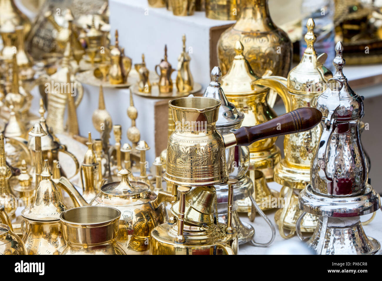 traditional brass utensils in Janadriyah festival essay in Saudi Arabia Stock Photo