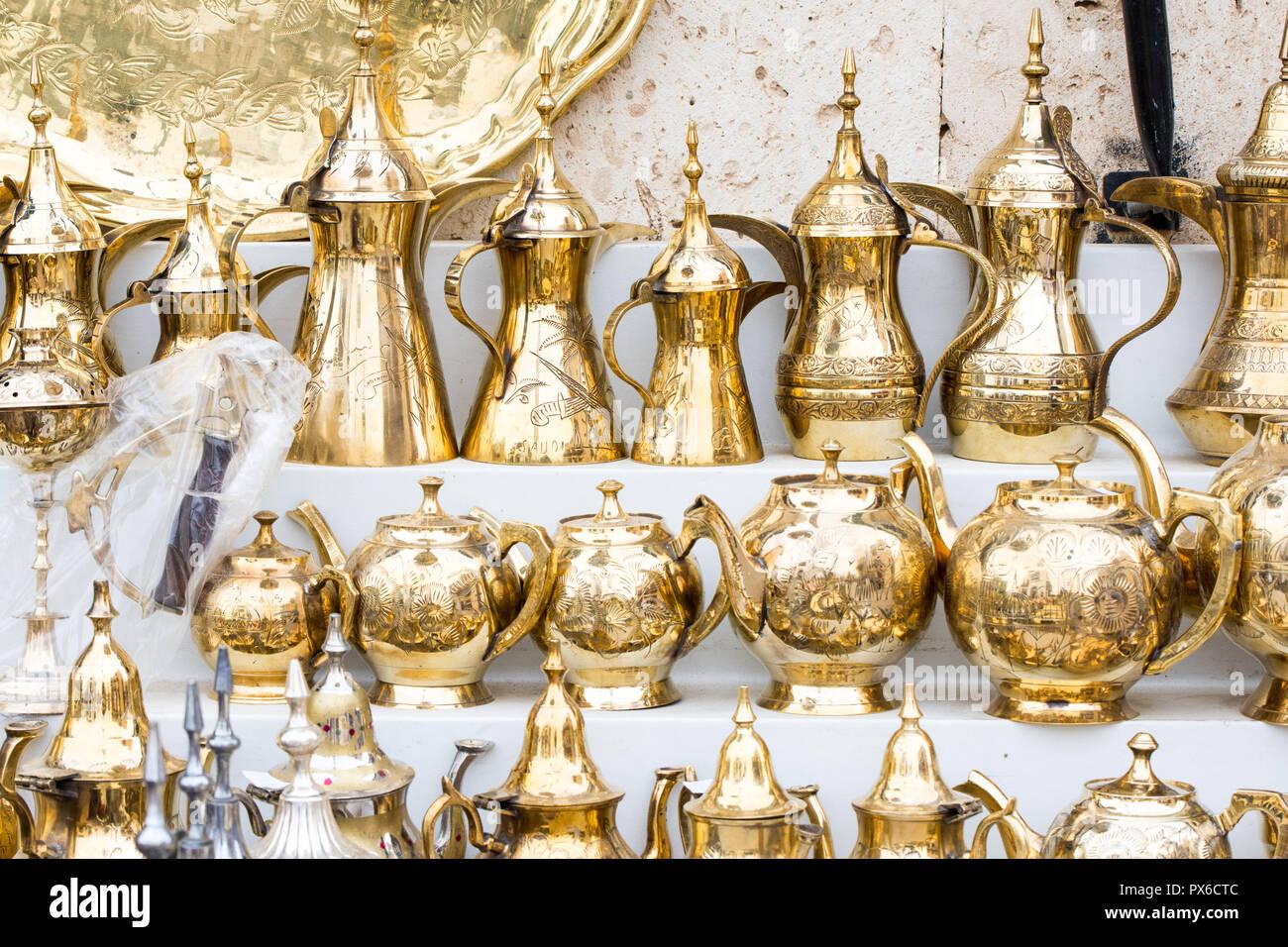 traditional brass utensils in Janadriyah festival essay in Saudi Arabia Stock Photo