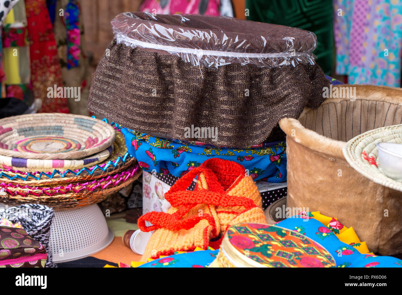 Beautiful jute straw baskets for sale at a shop in Riyadh, traditional handcrafts from Saudi Arabia Stock Photo