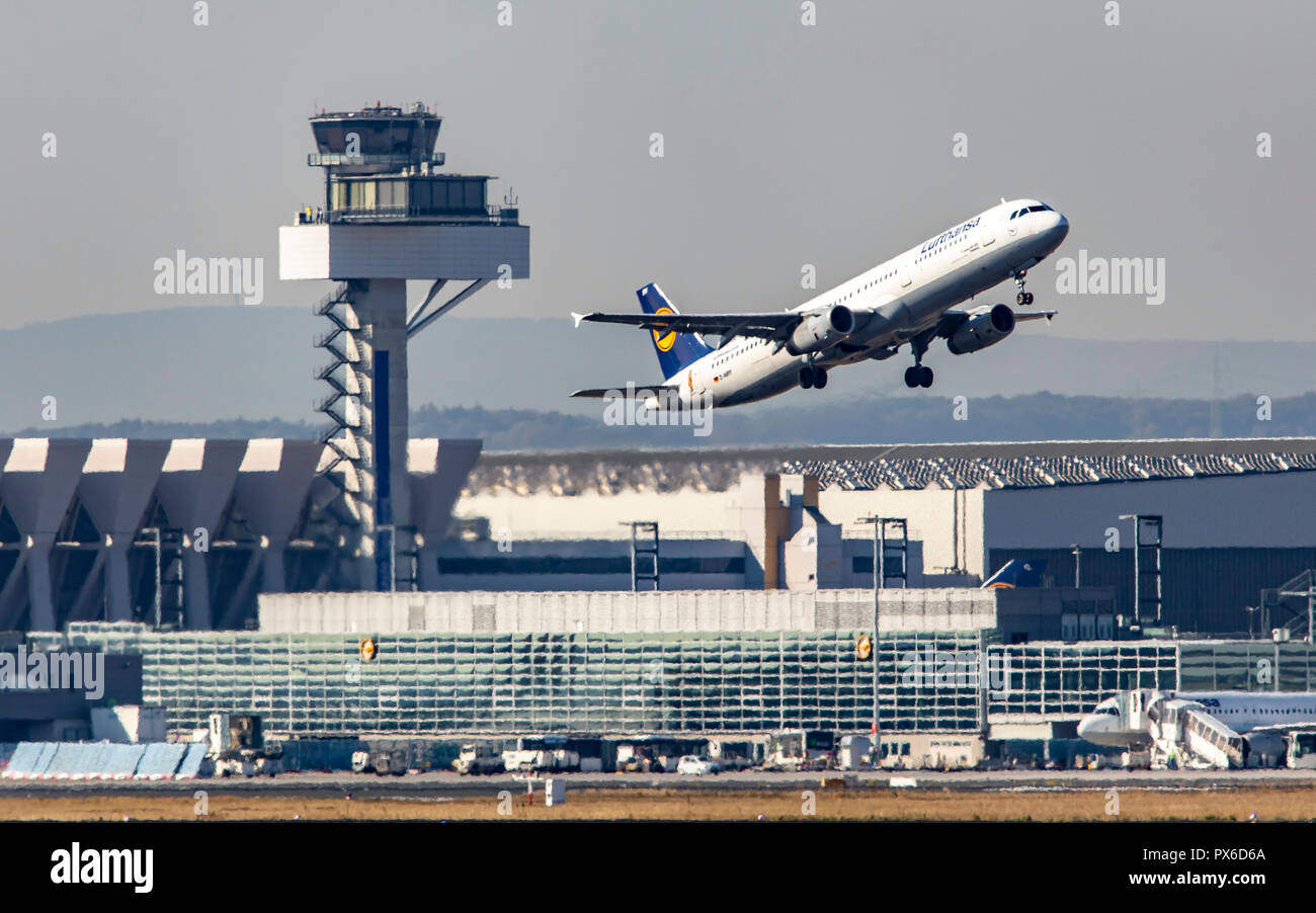 Frankfurt / Main Airport, FRA, Fraport, Lufthansa Airbus at take-off, Air Traffic Control Tower, - Stock Image