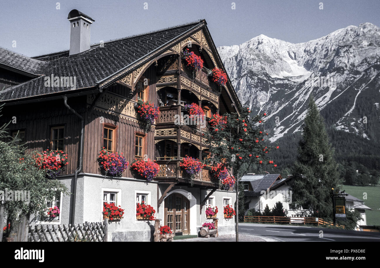 House with flower balcony, Austria, Upper Austria, Dachstein area, Ramsau Stock Photo