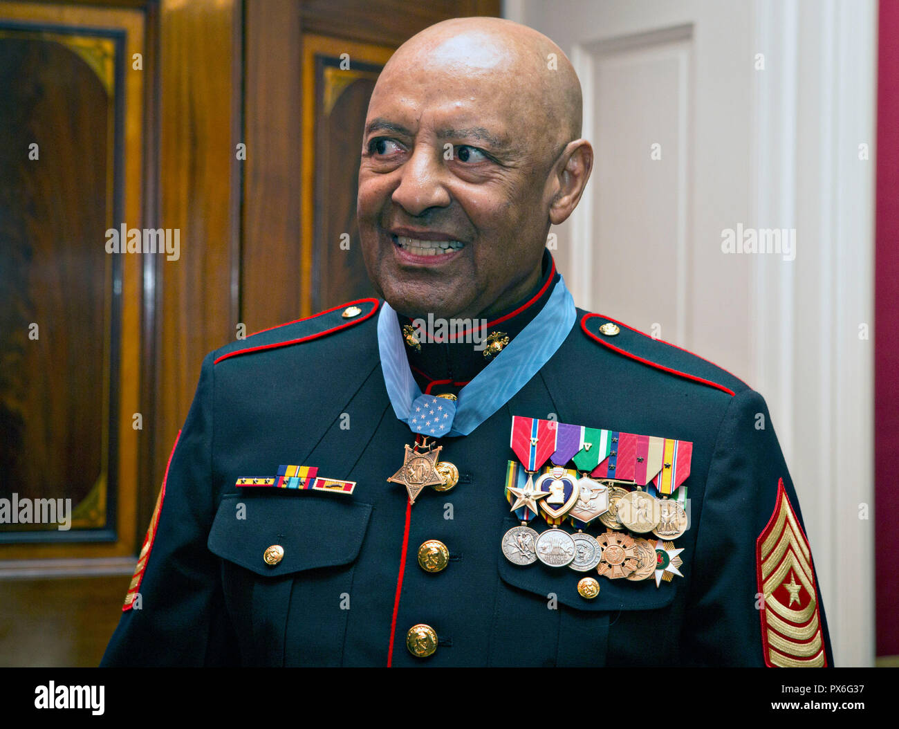 Medal of Honor recipient retired U.S. Marine Sgt. Maj. John Canley smiles following the presentation ceremony at the White House October 17, 2018 in Washington, DC. Canley received the nations highest honor for actions during the Battle of Hue in the Vietnam War. Stock Photo