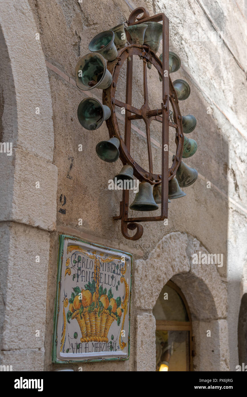 Artistic carvings and sculpture taormina sicily stock photo