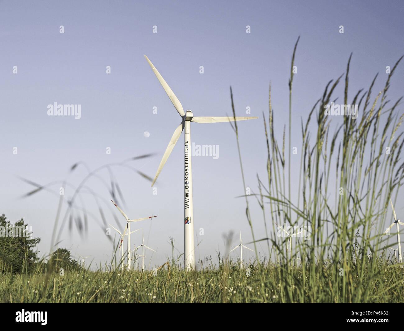 Windpark Parndorf, Austria, wind wheels, Burgenland, Northern Burgenland, Parndorf Stock Photo