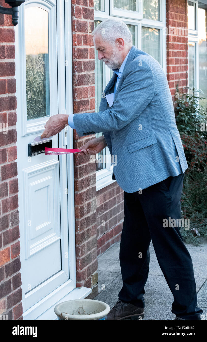 Jemery Corbyn leader of the labour Party delivering labour party leaflets. - Stock Image
