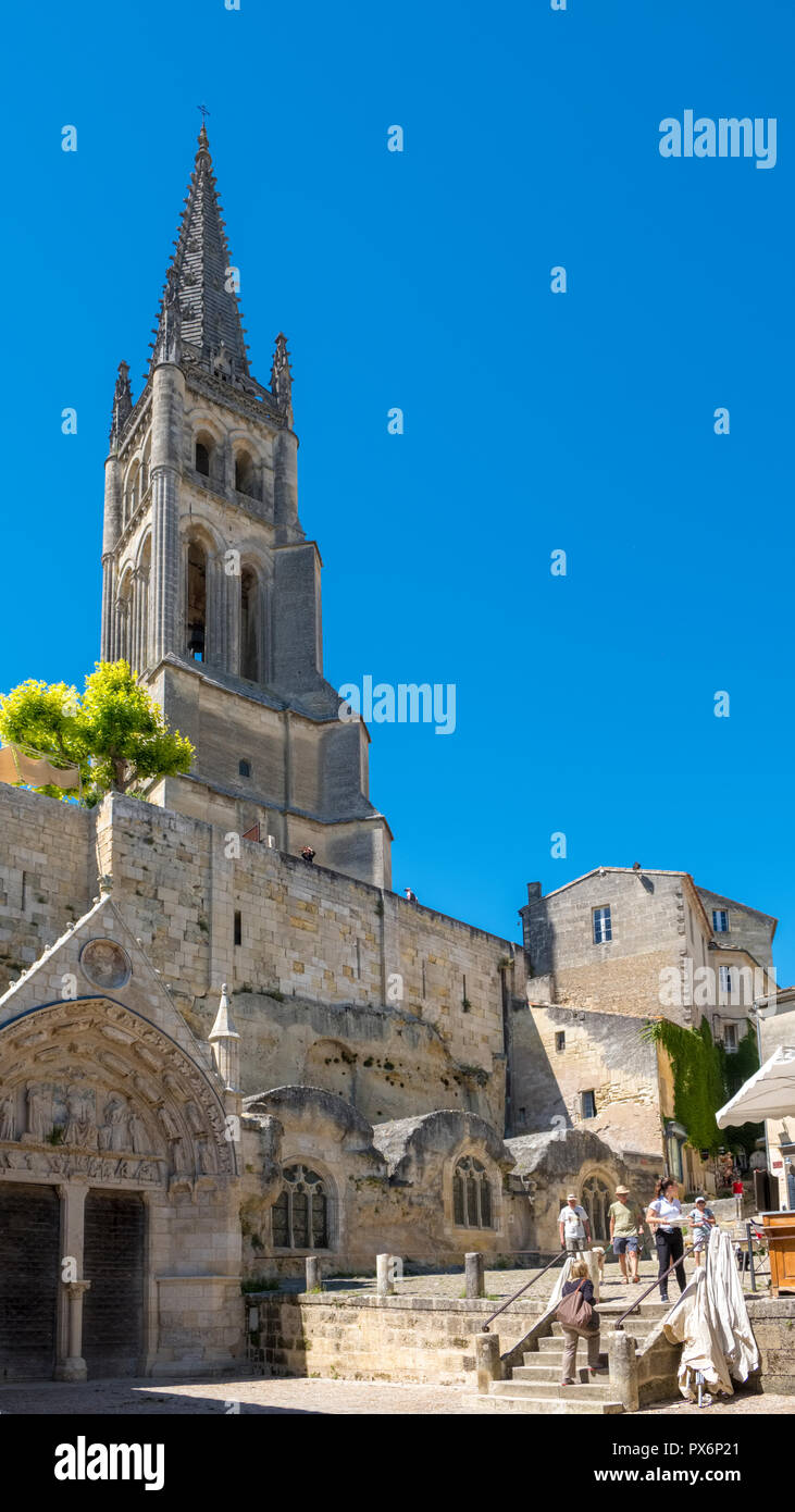 The church and bell tower at St Emilion, France, Europe - Stock Image