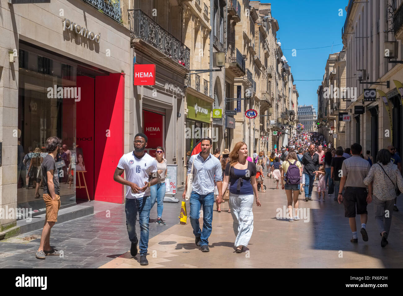 Rue St Catherine a shopping street in Bordeaux, France, Europe - Stock Image