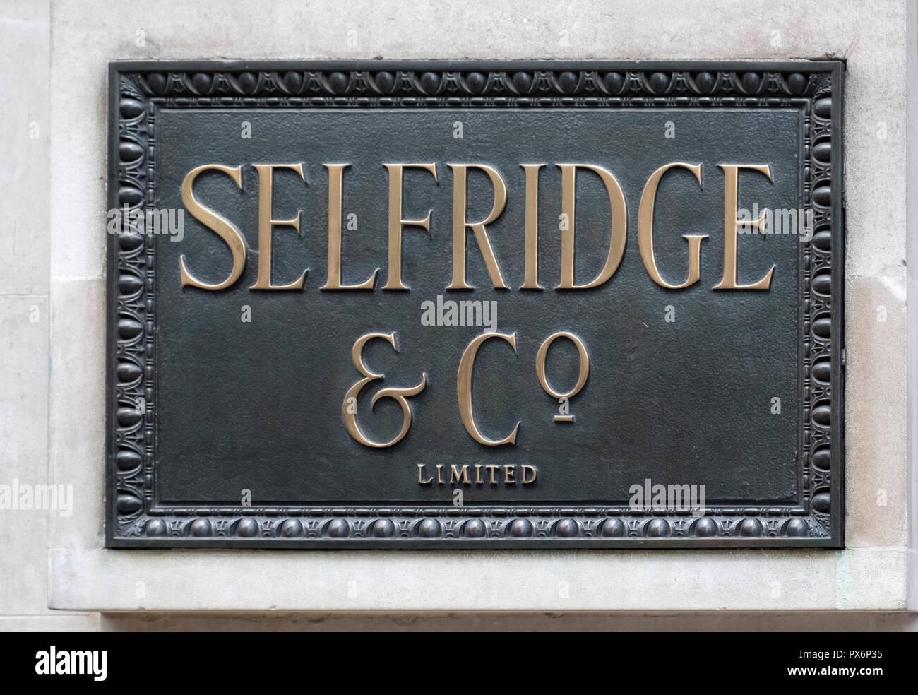 Selfridges Department Store sign, Oxford Street, London, England, UK - Stock Image