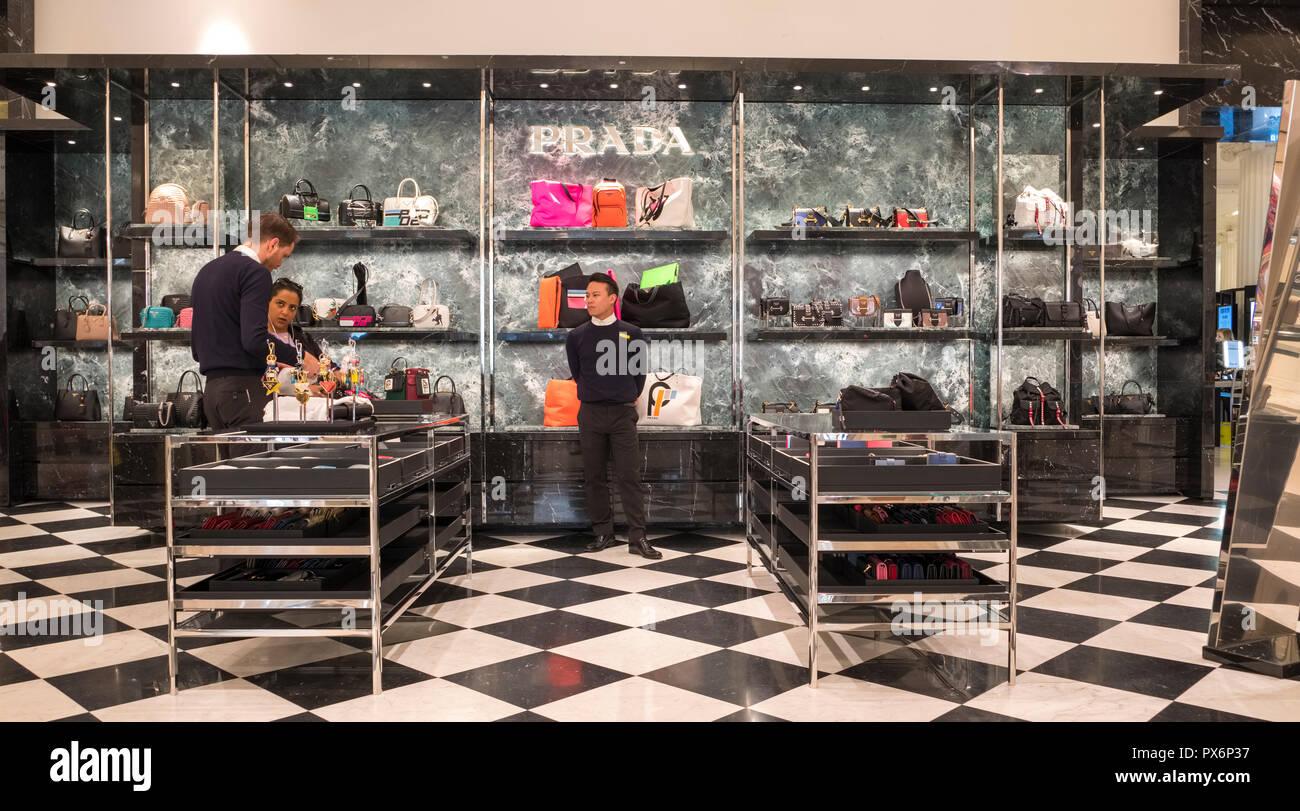 Inside the Prada store in Selfridges Department Store interior, London, England, UK - Stock Image