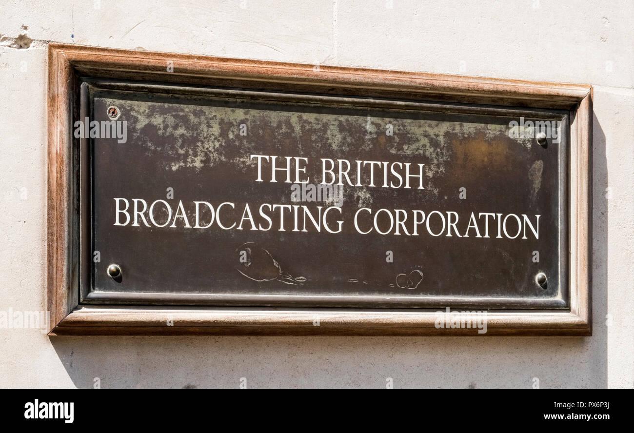 Old BBC sign, London, England, UK - Stock Image