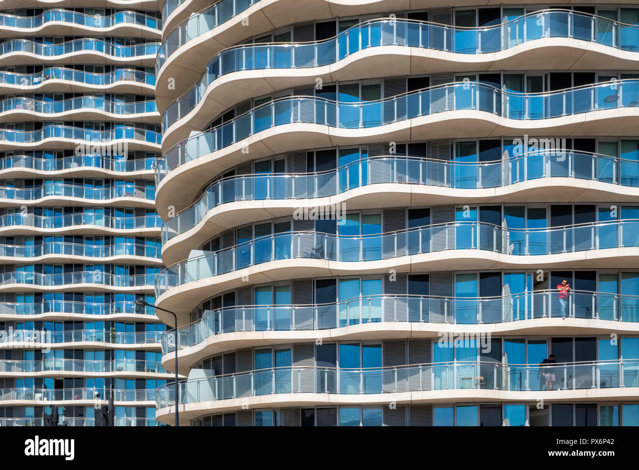 Detail of high-rise apartment buildings at Royal Victoria Dock, London, England, UK, modern architecture - Stock Image