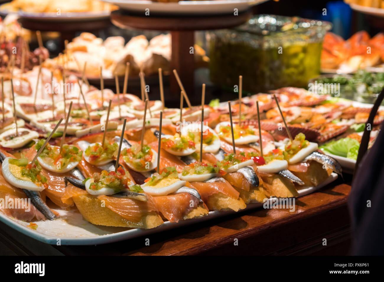 Tapas or Pintxos in San Sebastian, Donostia, Basque Country, Spain, Europe - Stock Image