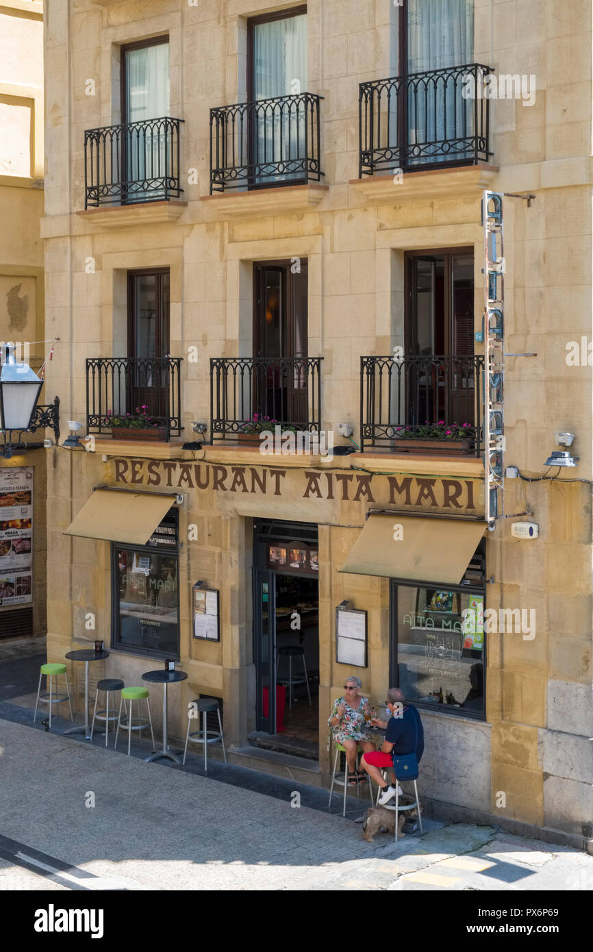 Restaurant exterior in San Sebastian, Donostia, Basque Country, Spain, Europe - Stock Image