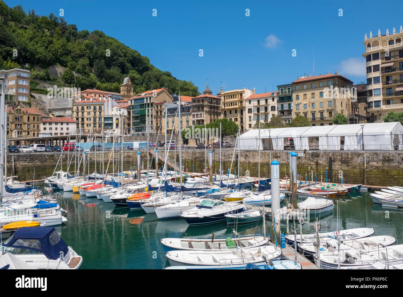 Harbour in San Sebastian, Donostia, Basque Country, Spain, Europe - Stock Image