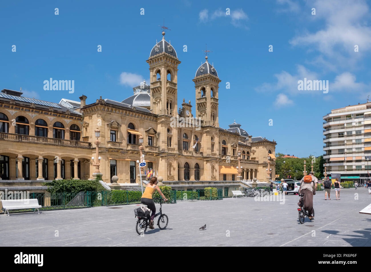 City Hall and Library, San Sebastian, Donostia, in the Basque Country, Spain, Europe - Stock Image
