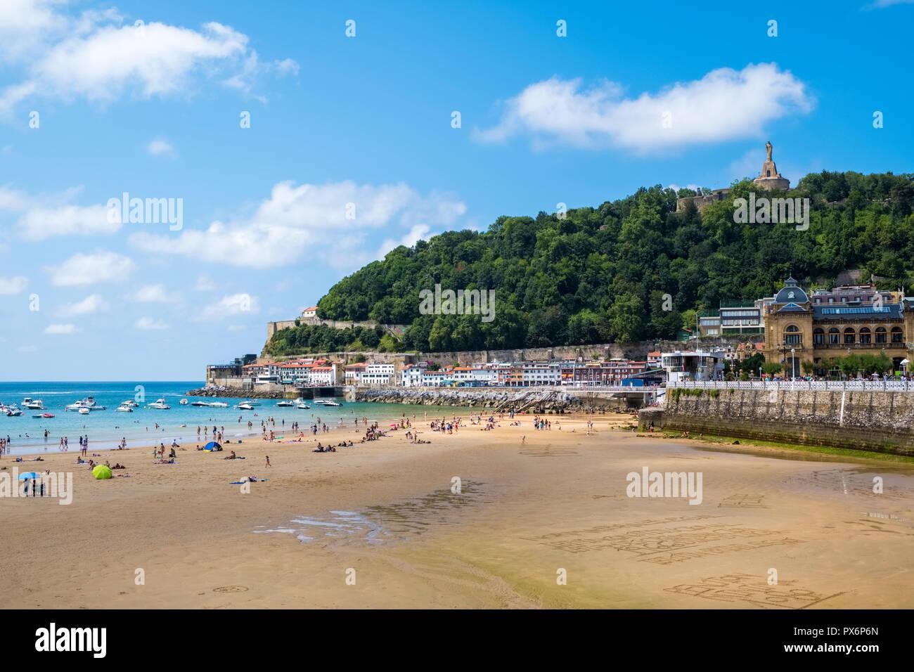 La Concha Bay, San Sebastian, Donostia, Basque Country, Spain, Europe - Stock Image