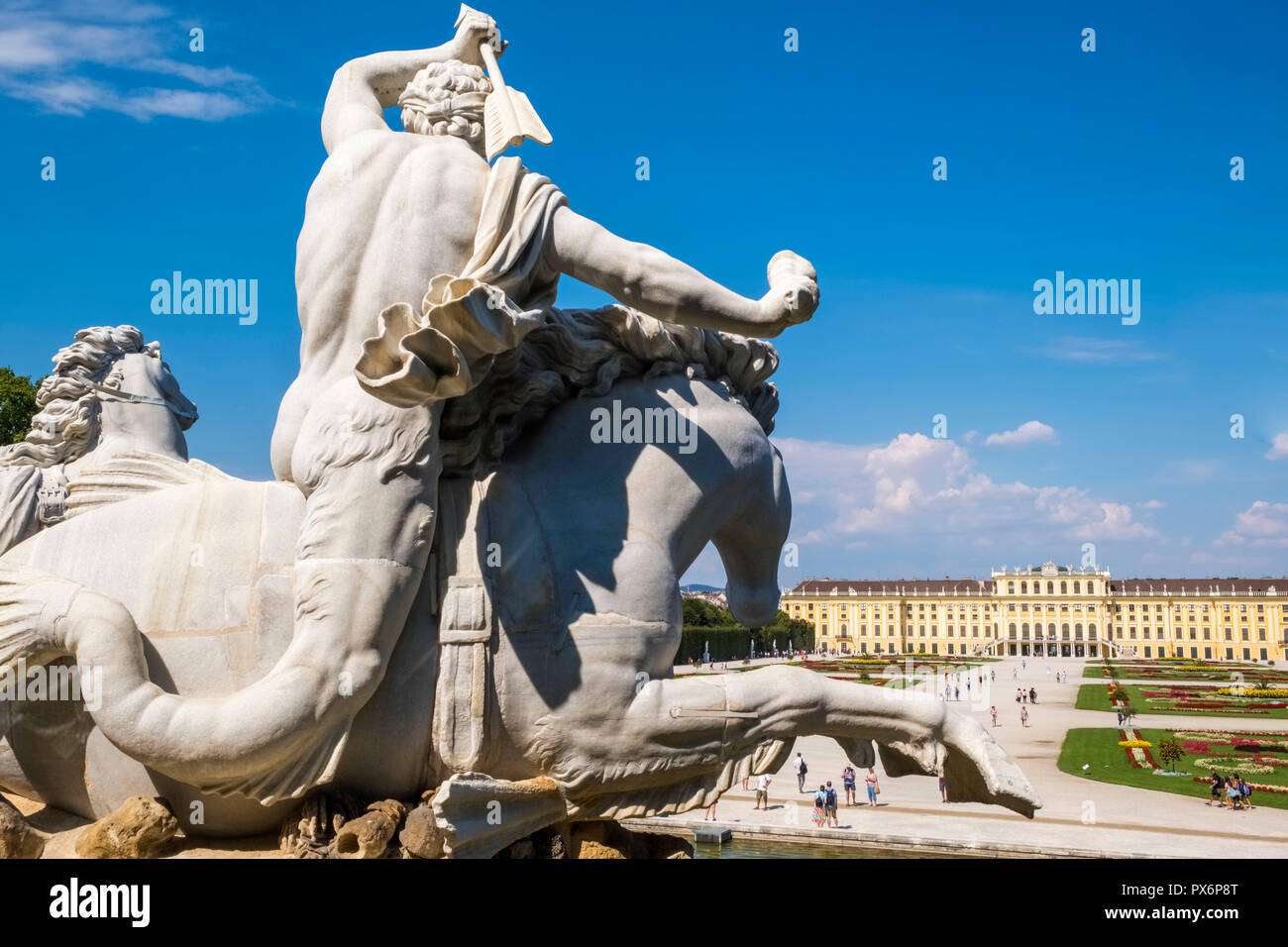 Schonbrunn Palace and landscaped Gardens, Vienna, Austria, Europe - Stock Image