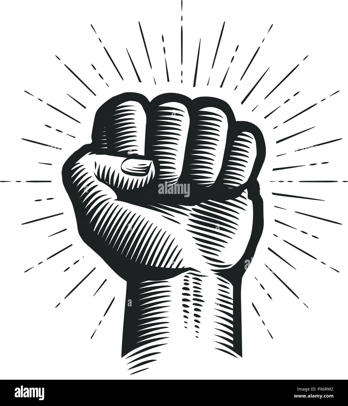 Raised up clenched fist. Sketch vector illustration - Stock Vector