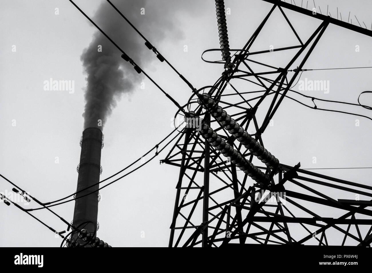 Smoke Stacks High Tension Poles Ukraine Western Ukraine Stock