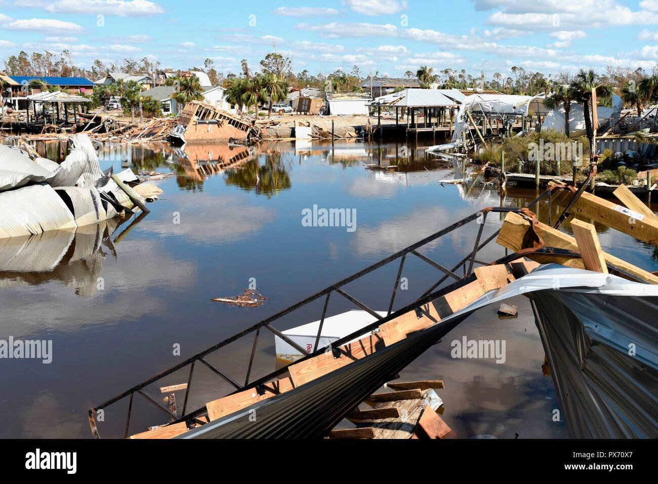 Catastrophic damage to a docks, boats and the marina in the aftermath of Hurricane Michael as the storm left a swath of destruction across the Panhandle region of Florida area October 14, 2018 in Mexico Beach, Florida. The Category 4 monster storm left behind catastrophic damage along northwestern Florida. - Stock Image