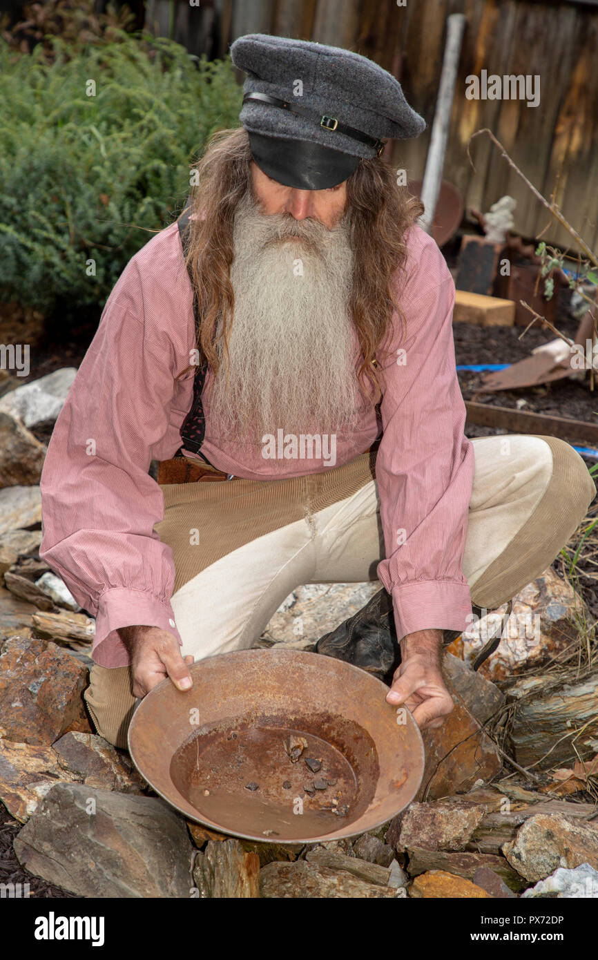 Portrait of a prospector in traditional clothing - Stock Image