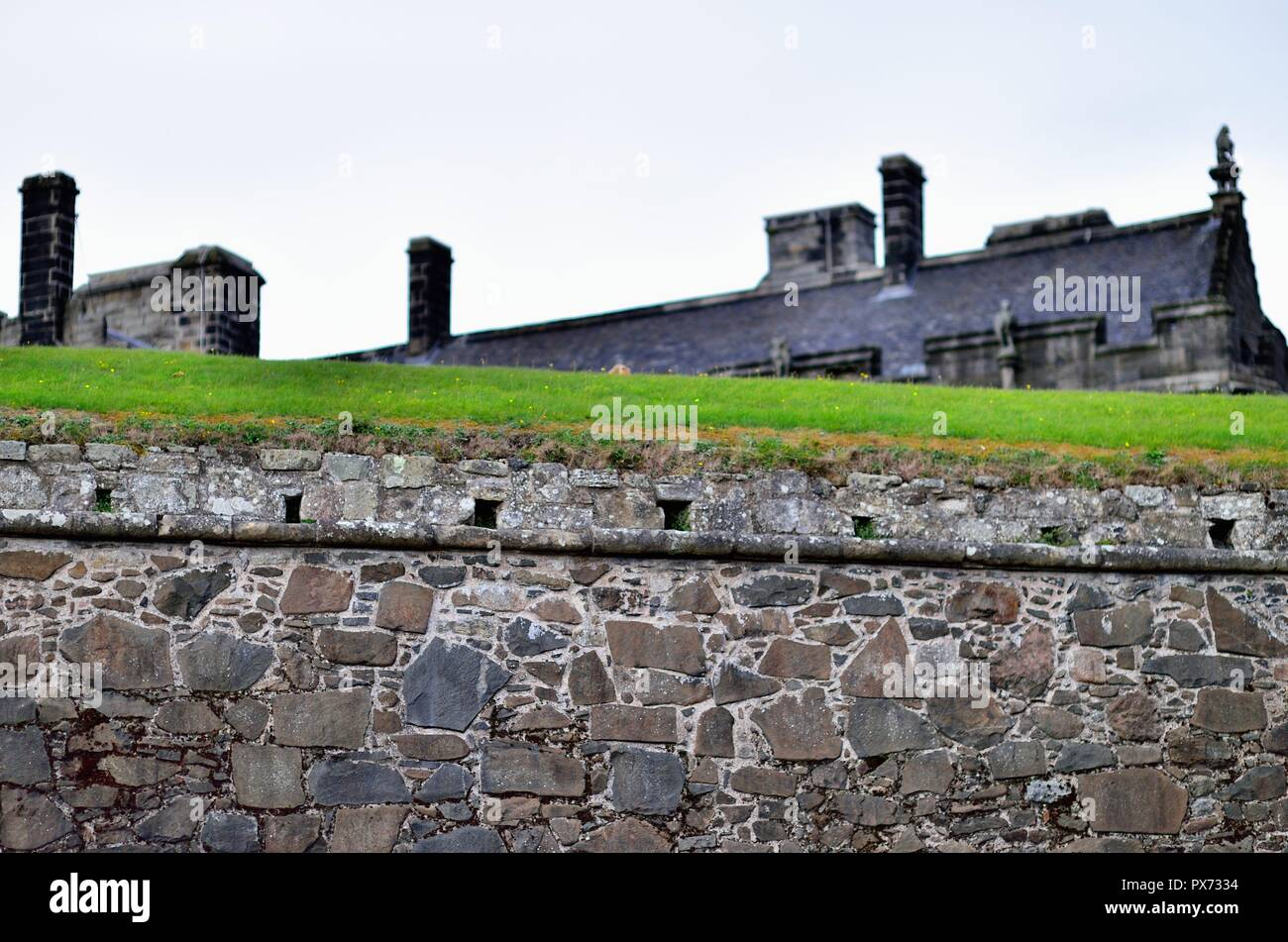 Stirling, Scotland, United Kingdom. An outer wall at Stirling Castle. The castle is certainly one of Scotland's most important castles. - Stock Image