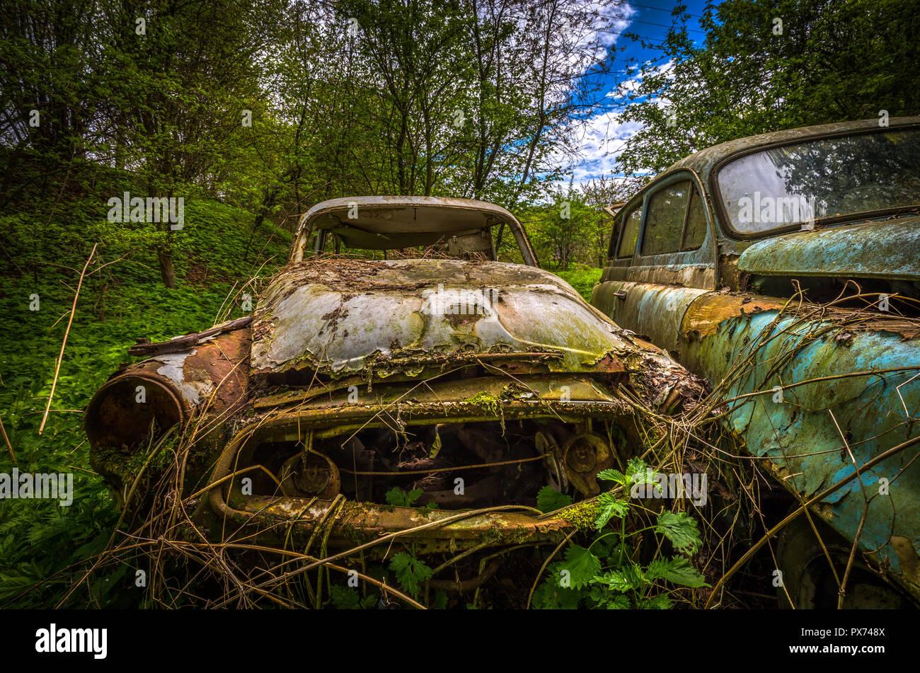 Forgotten car decaying in the garden, urbex Czech republic - Stock Image