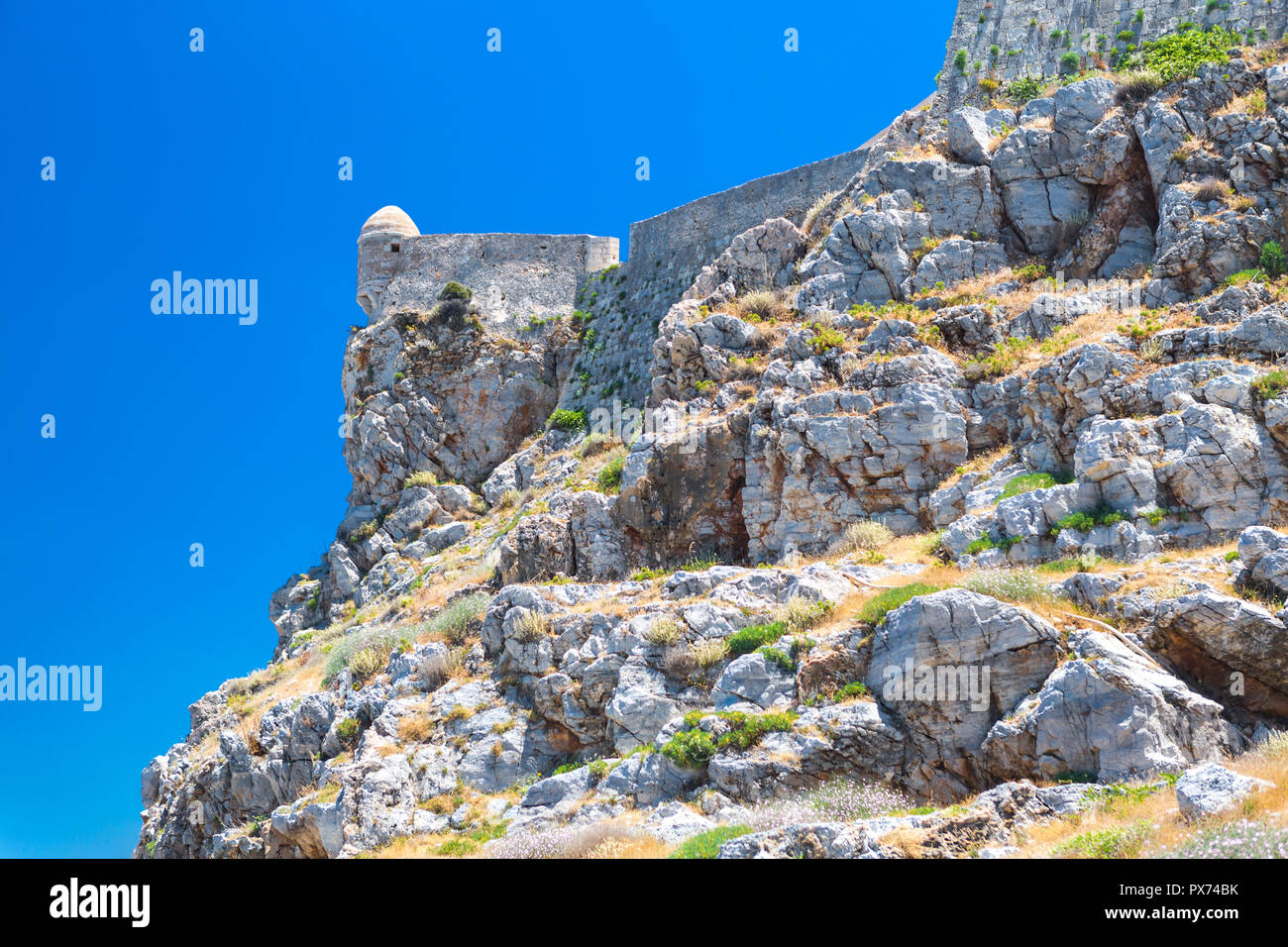 The venetian fortress of Fortezza on the hill at the old town of Rethimno, Crete, Greece. Stock Photo