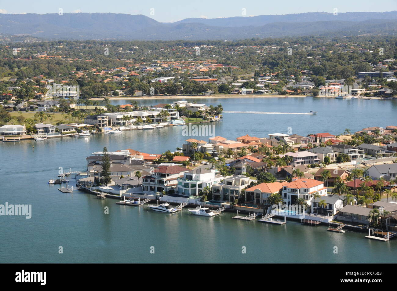 Bright and busy water haven (Brisbane) - Stock Image
