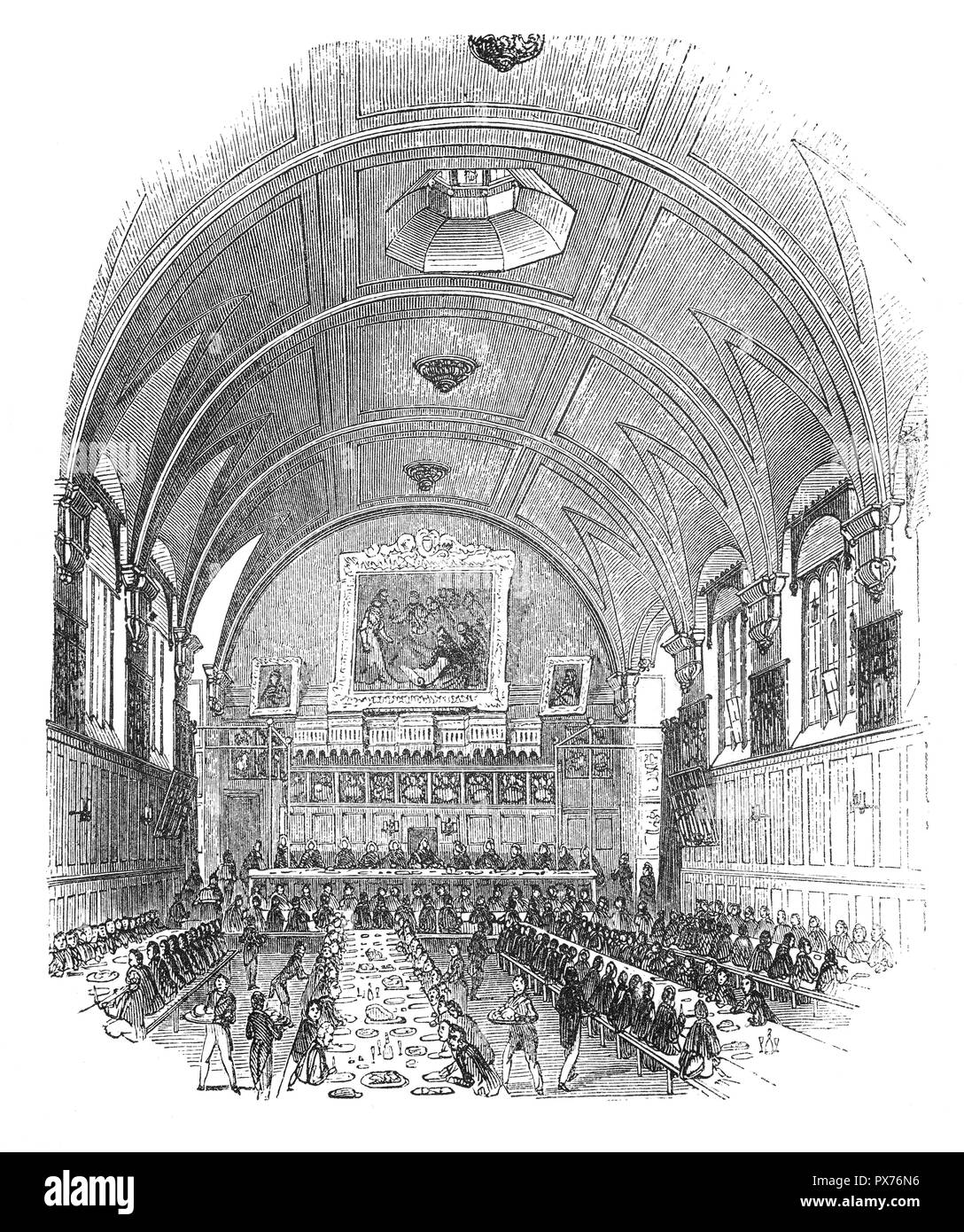 The Hall of the Honourable Society of Lincoln's Inn, one of the four Inns of Court in London to which barristers of England and Wales belong and where they are called to the Bar. (The other three are Middle Temple, Inner Temple and Gray's Inn.) Lincoln's Inn is recognised to be one of the world's most prestigious professional bodies of judges and lawyers. It is situated in Holborn, in the London Borough of Camden, just on the border with the City of London and the City of Westminster. Stock Photo