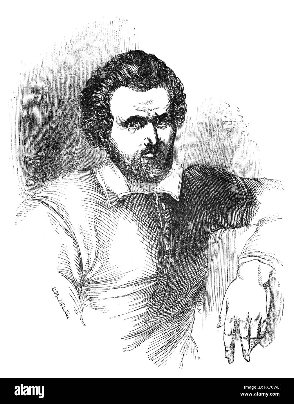 Benjamin Jonson (1572-1637) was an English playwright, poet, actor, and literary critic, whose artistry exerted a lasting impact upon English poetry and stage comedy. He popularised the comedy of humours and is best known for the satirical plays Volpone and The Alchemist (1610) and for his lyric and epigrammatic poetry. He is generally regarded as the second most important English playwright during the reign of James VI and I after William Shakespeare. He died in 1637 and is buried in the north aisle of Westminster Abbey, with the inscription 'O Rare Ben Johnson' over his grave. - Stock Image