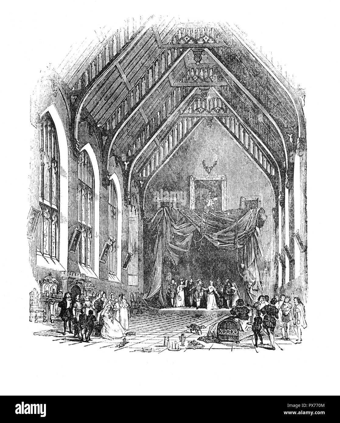 A performance by Itinerant Players.  By the later sixteenth century, a well-defined groups of them travelled extensively by road throughout the realm reinforced links between communities located across the English regions.  Moreover, while distinctive local entertainment traditions persisted in many places, the journeys of Elizabethan and Jacobean touring performers provided the means by which provincial audiences shared in the performance arts developed at Court and in the metropolis. - Stock Image