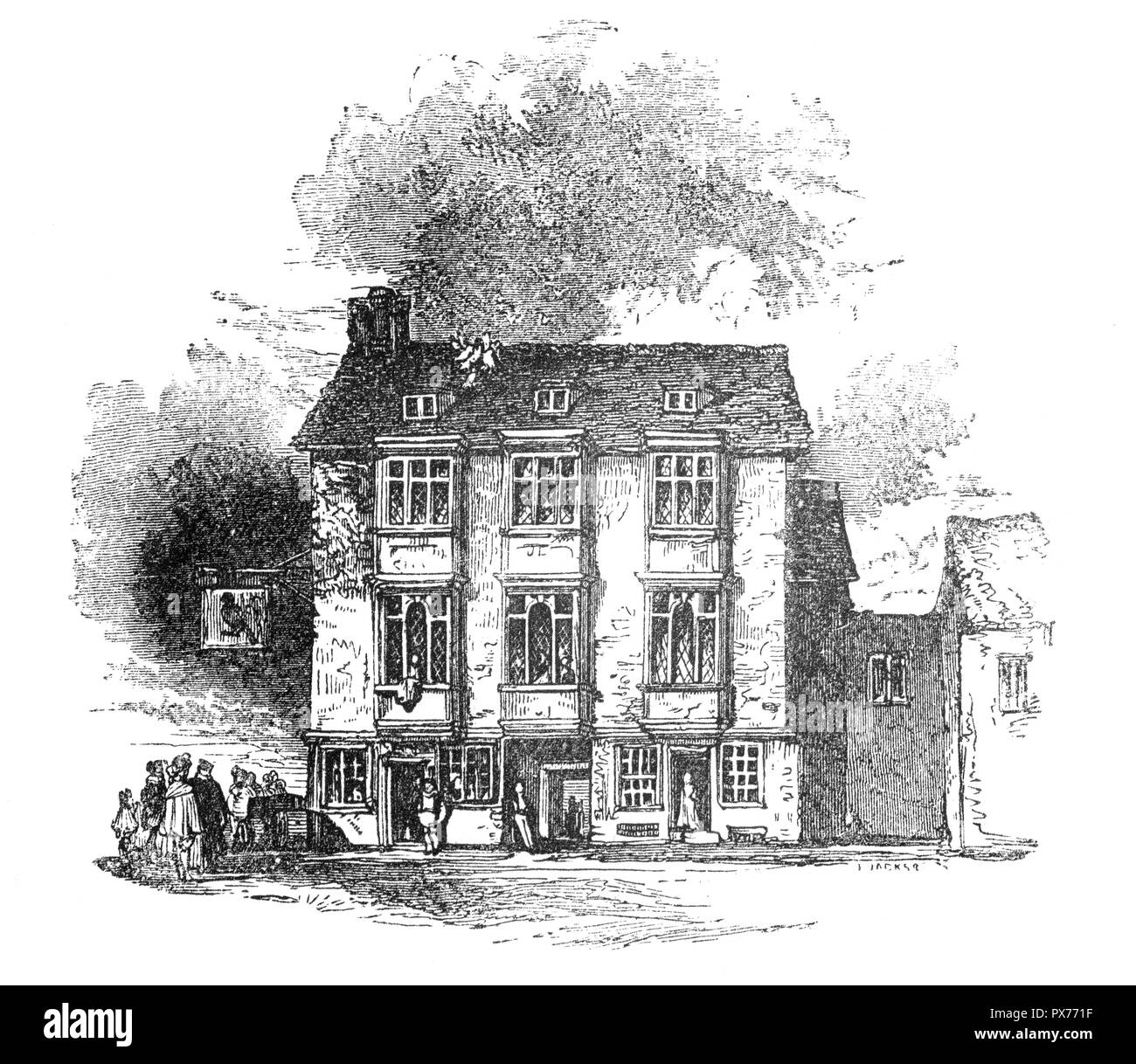 The Falcon Inn in Southwark, on the south bank of the Thames, London, England, was a house of great business and the place from whence coaches went to all parts of Kent, Surrey and Sussex.  The area was the entertainment centre of London during the Tudor and Stewart periods, every form of artistic pursuit, and vice, could be found here. Theatres such as the Rose, Swan, Globe and Hope sprang up  and playwrights of the stature of Marlowe and Shakespeare became celebrities and the Falcon became the daily resort of Shakespeare and his dramatic companions. - Stock Image