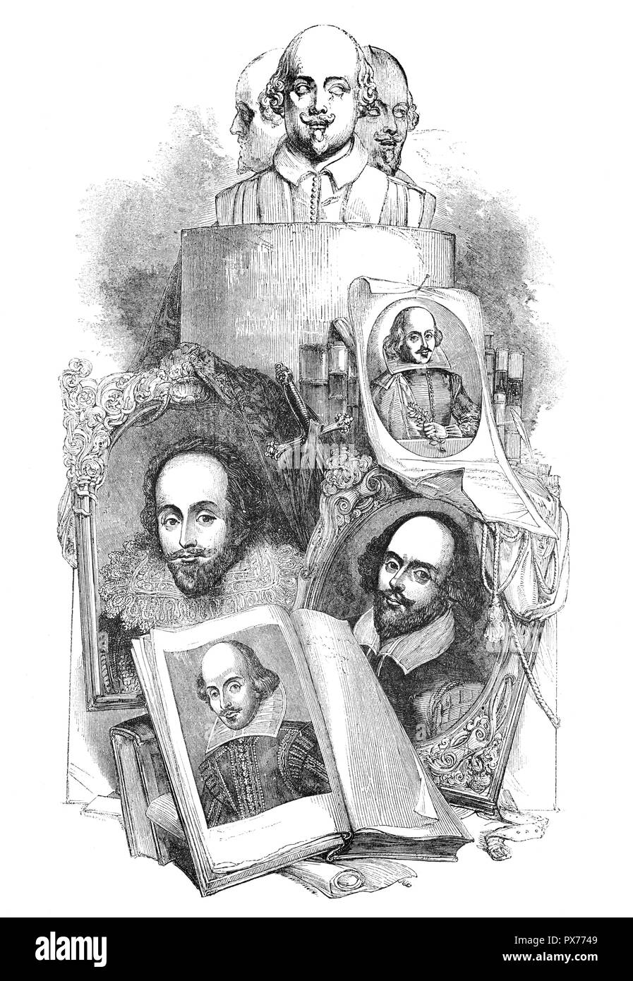 Portraits of William Shakespeare (1564-1616) born and raised in Stratford-upon-Avon, Warwickshire, England. He was an English poet, playwright and actor, widely regarded as both the greatest writer in the English language and the world's pre-eminent dramatist. He is often called England's national poet and the 'Bard of Avon'. He wrote approximately 39 plays,154 sonnets, two long narrative poems, and a few other verses, some of uncertain authorship. His plays have been translated into every major living language and are performed more often than those of any other playwright. - Stock Image