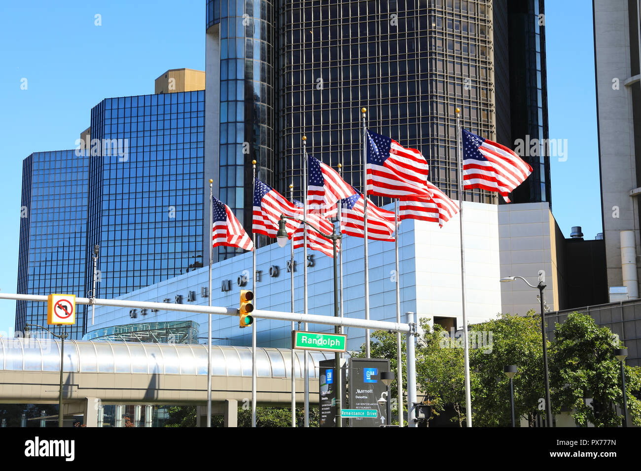 The General Motor's HQ on the Riverfront in Detroit, part of the Renaissance Centre, in Michigan, in the USA - Stock Image