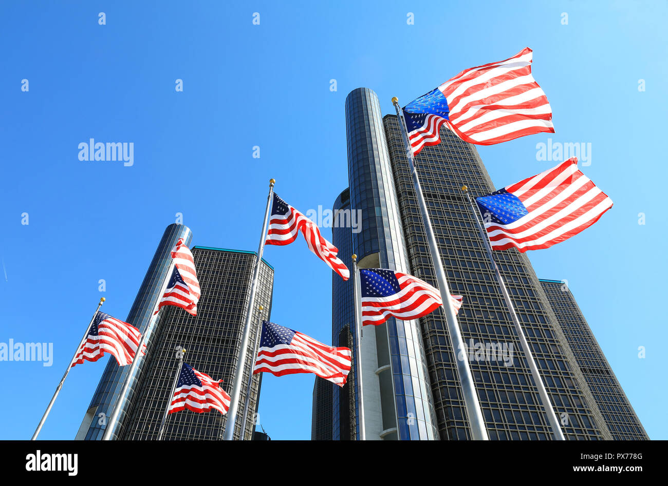 The skyscrapers of the Renaissance Centre, on Detroit's Riverfront, owned by General Motors as it's world HQ, in Michigan, USA - Stock Image