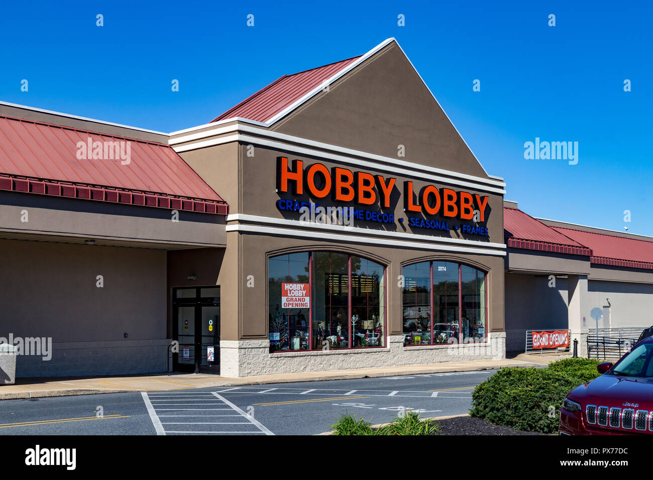 Lancaster, PA, USA - October 18, 2018: Hobby Lobby Stores is a private for-profit corporation that owns and operates a chain of American arts and craf - Stock Image