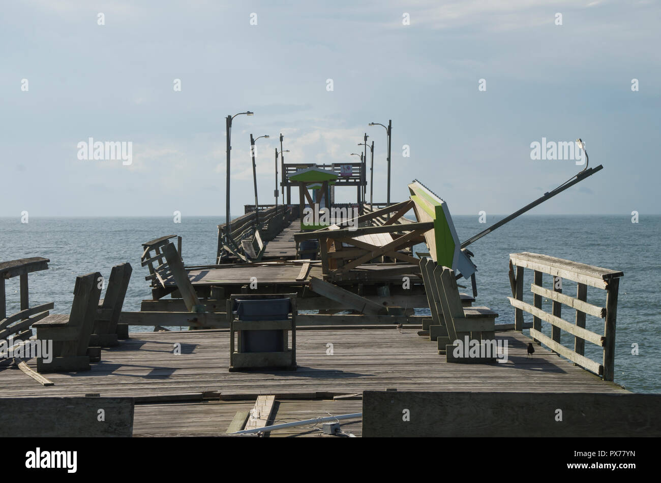 Damage to the Bouge Inlet Fishing Pier from Hurricane Florence - Stock Image