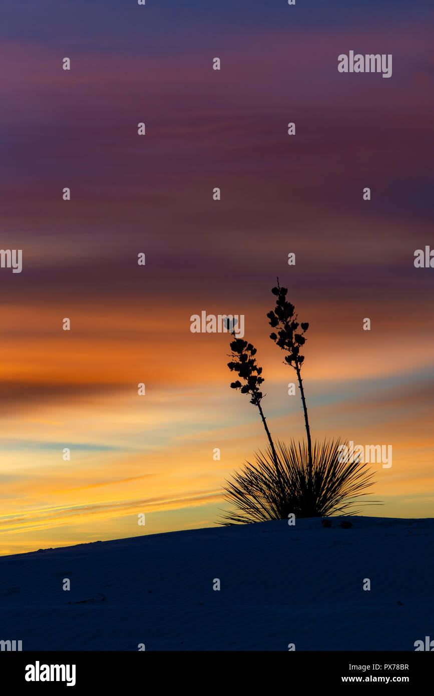 Sunrise at White Sands National Monument in New Mexico Stock Photo