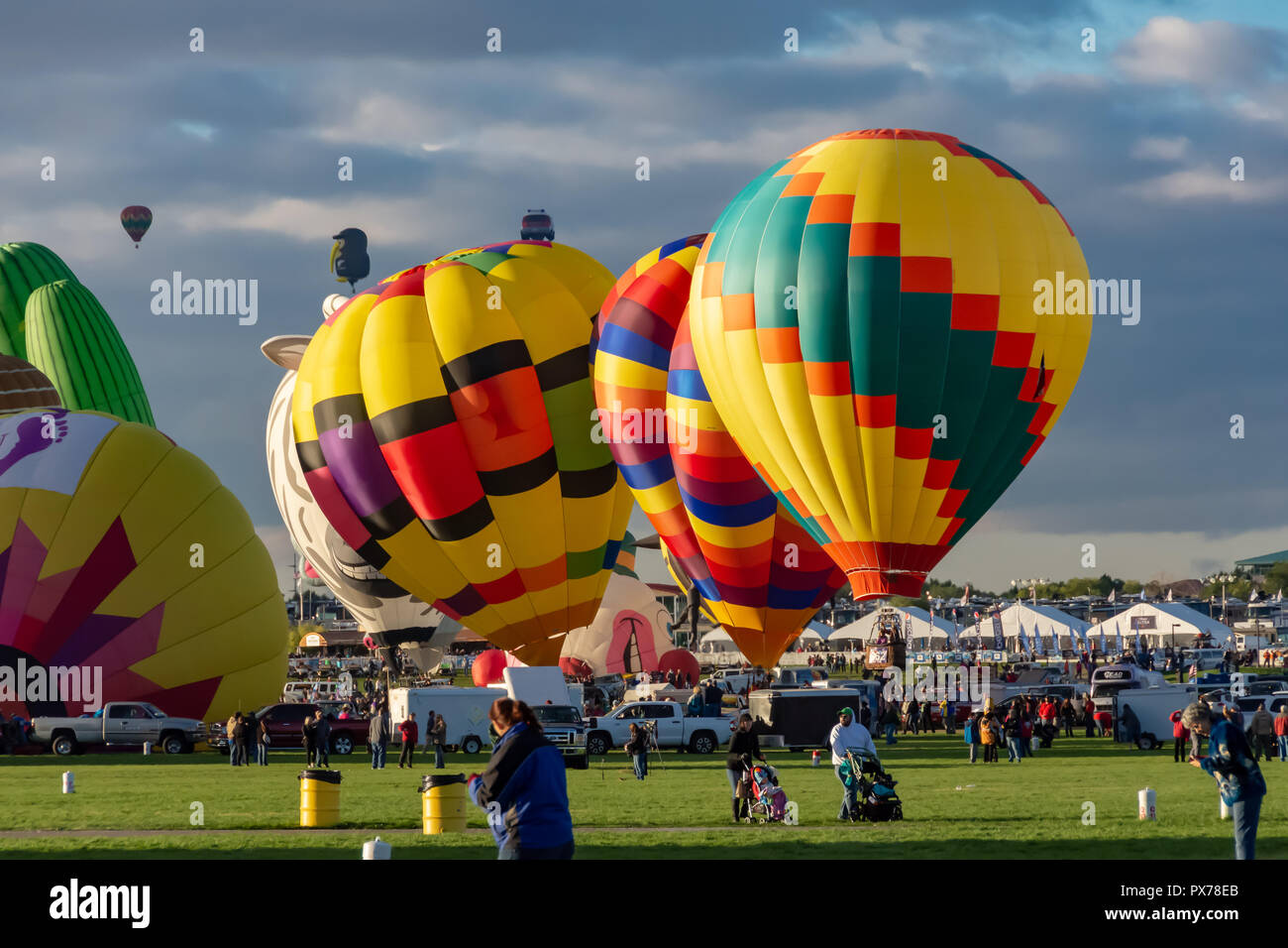Albuquerque annually celebrates the world's largest hot air balloon fiesta in early October Stock Photo