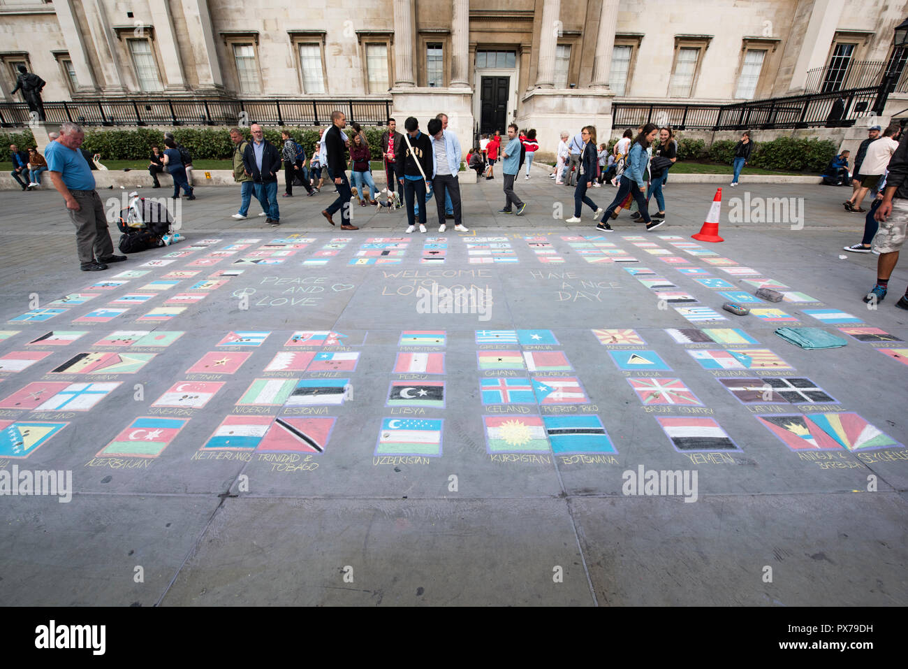 Country's flags drawn on the asphalt in London, UK - Stock Image