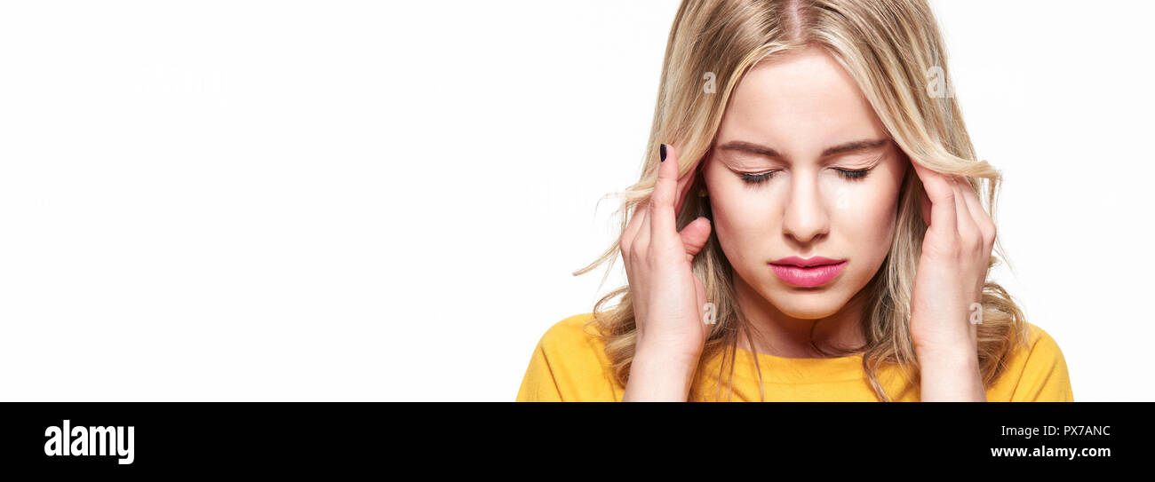 Young Woman Having Headache Stressed Exhausted Young Woman Massaging Her Temples Woman Suffering From Migraine Feeling Pressure And Stress Banner Stock Photo Alamy