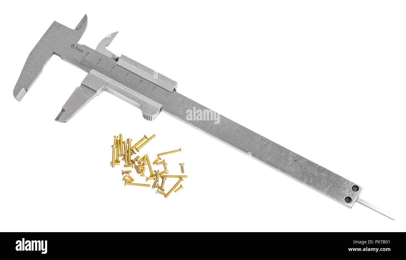 old steel calipers and lot of brass screws isolated on white background - Stock Image